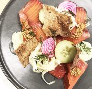 Beet-cured salmon with cream cheese and crisps