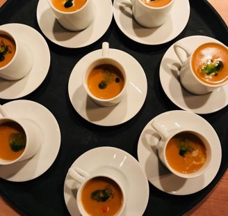 Lobster bisque with chunks of lobster