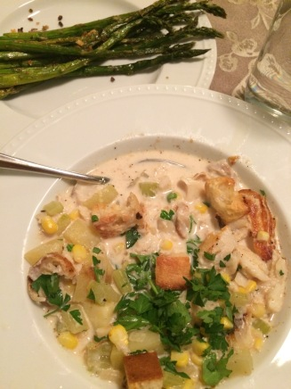 Our last of the three Home Chef boxes was a warming bowl of cod chowder with croutons for a rather chilly Monday.