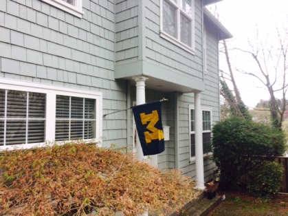 Bryan surprised me with finding and hanging the Michigan flag up.