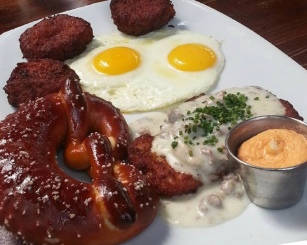 Schnitzel, pretzel, perfect sunny up eggs for me.
