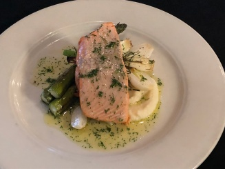 Slow roasted king salmon with turnip puree and asparagus.