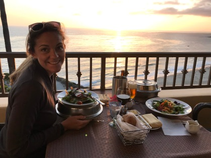 Sunset views and dinner on our balcony