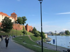 Looking back at the Wawel Castel along our river walk to dinner