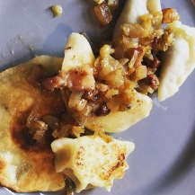Our finished pierogi with bacon and onion...plate #1