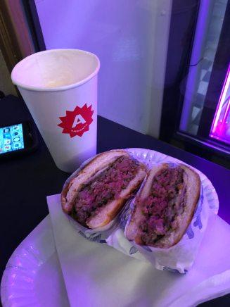 Wagyu burger and beer at Nase Maso