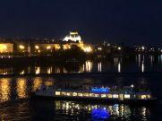 City and boats at night