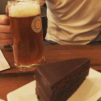 Sacher torte and beer