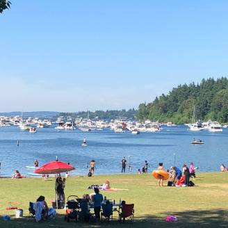 The lake was packed with boats on Sunday. And Seward Park was packed with cyclists and picnickers.