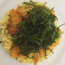 Breaded cauliflower on a cold bulgur creamy salad