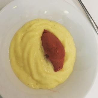 Cream with strawberries and strawberry ice cream