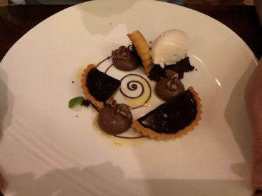 Chocolate tart with tonka bean ice cream