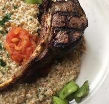 Actually delicious lamb chop with a creamy farro risotto