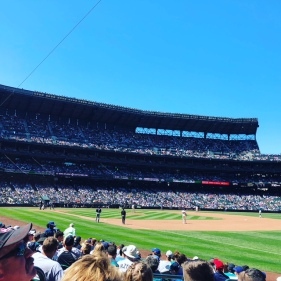 Mariners game on a hot and sunny day
